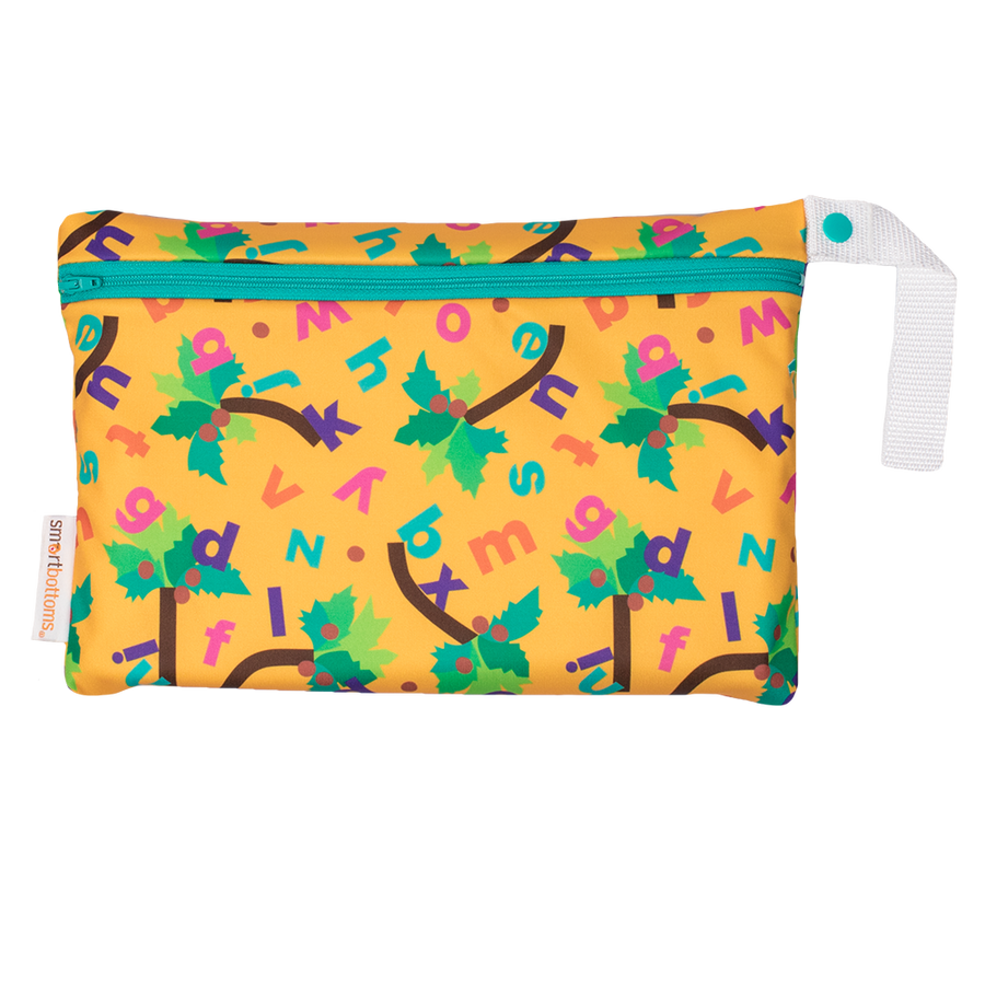 Smart Bottoms - Small Wet Bag - Chicka Chicka Boom Boom - Waterproof diaper bag - yellow bag with alphabet letters
