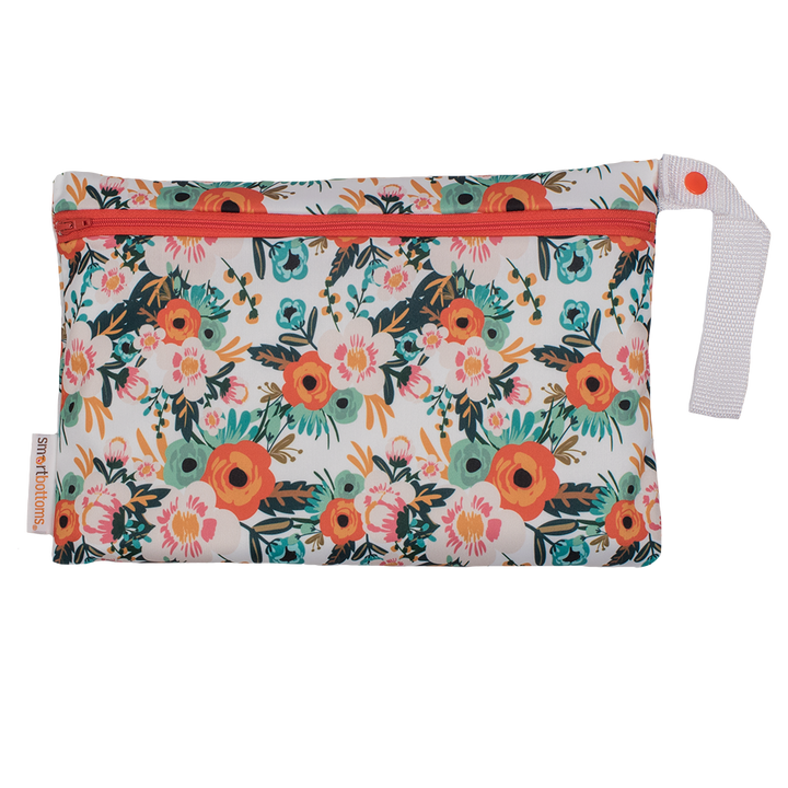Smart Bottoms - Small Wet Bag - Ginny print - orange poppy floral print waterproof cloth diaper bag