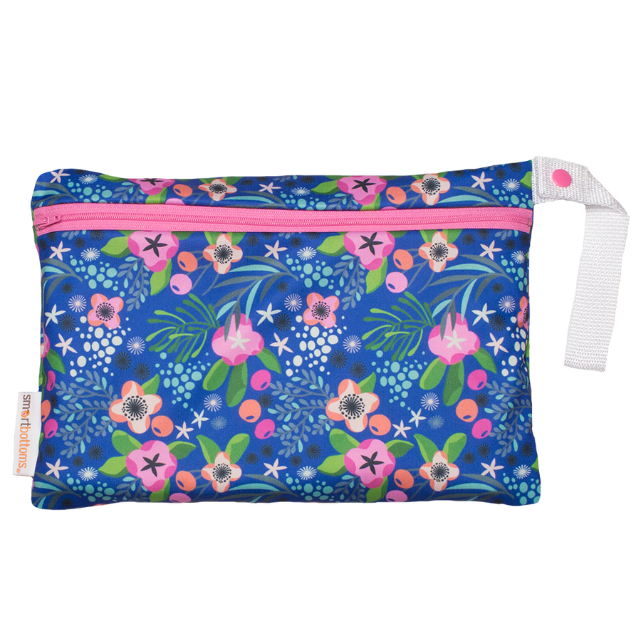 Smart Bottoms - Small Wet Bag - Isla Flor print - Blue with pink tropical flowers print waterproof cloth diaper bag