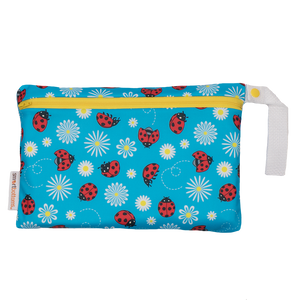Smart Bottoms - Small Wet Bag - Little Ladybugs print - cute red ladybugs on blue background print waterproof cloth diaper bag