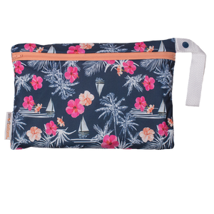 Smart Bottoms - Small wet bag - Paradise - waterproof cloth diaper bag - Blue with tropical pink flowers waterproof print bag