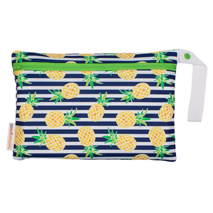 Smart Bottoms - Small Wet Bag - Pina Colada print - Pineapples with blue and white stripes print waterproof cloth diaper bag