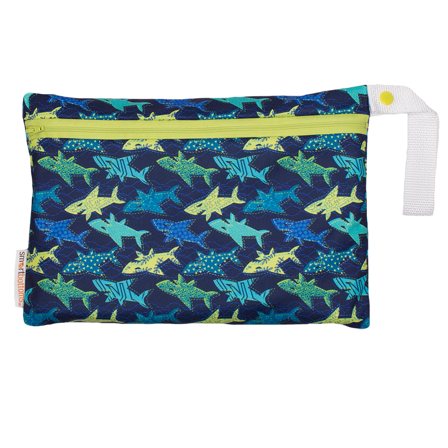 Smart Bottoms - Small Wet Bag - Swim Faster sharks print - cute blue and yellow sharks print waterproof cloth diaper bag
