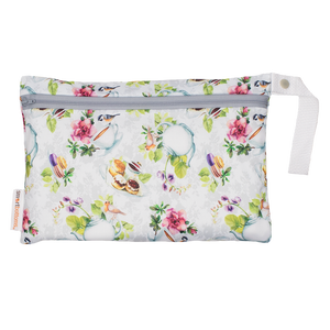Smart Bottoms - Small Wet Bag - Tea Party Print - waterproof bag - English tea time print waterproof cloth diaper bag