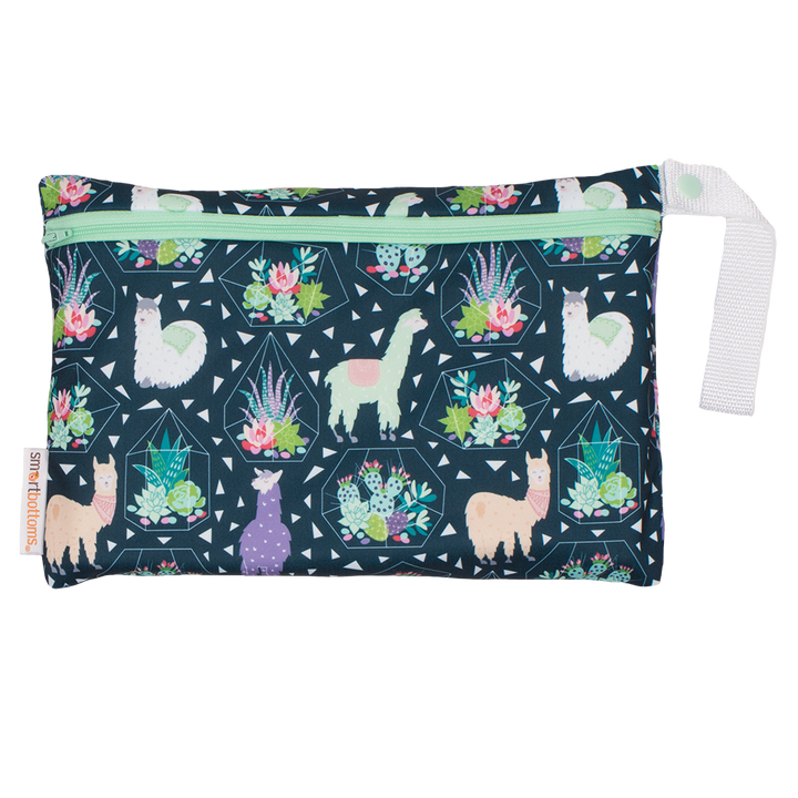 Smart Bottoms - Small Wet Bag - Tina print - Llama print waterproof cloth diaper bag