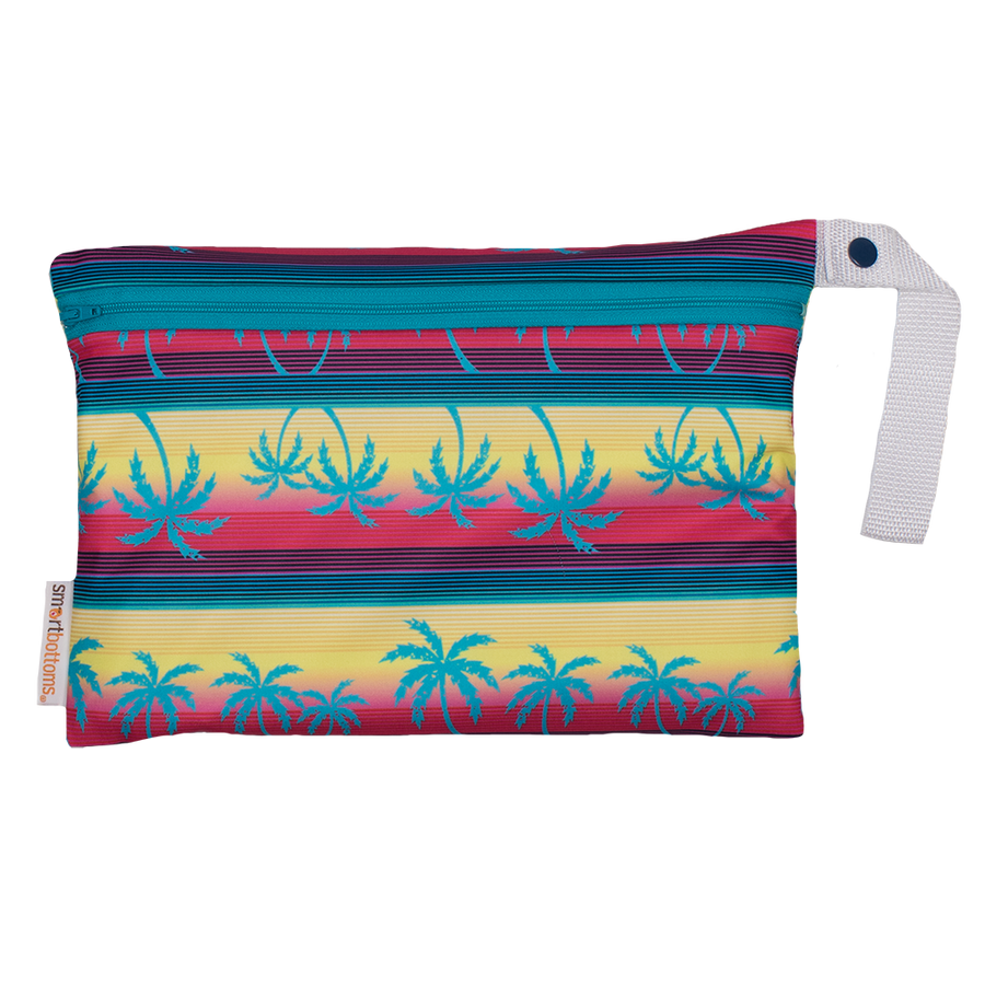 Smart Bottoms - Small Wet Bag - Tropic Like It's Hot print - tropical palm trees print waterproof cloth diaper bag