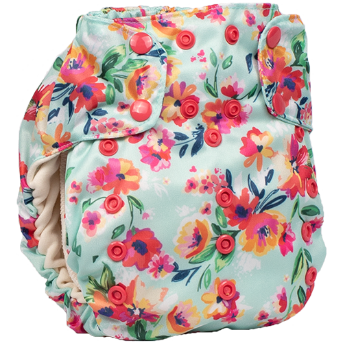 Smart Bottoms - Smart One 3.1 cloth diaper - all natural cloth diaper - Aqua Floral print - cute flowers cloth diaper print