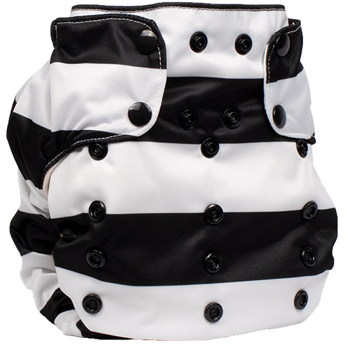 Smart Bottoms - Smart One 3.1 cloth diaper - all natural cloth diaper - Manhattan print - wide black and white stripe cloth diaper print