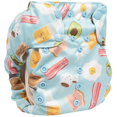 Smart Bottoms - Smart One 3.1 cloth diaper - all natural cloth diaper - Sunnyside print - cute bacon and eggs cloth diaper print