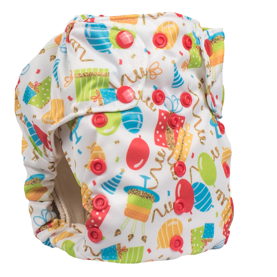 Smart Bottoms - Smart One 3.1 cloth diaper - Birthday Party - Balloons and streamers party print cloth diaper - organic cotton cloth diaper