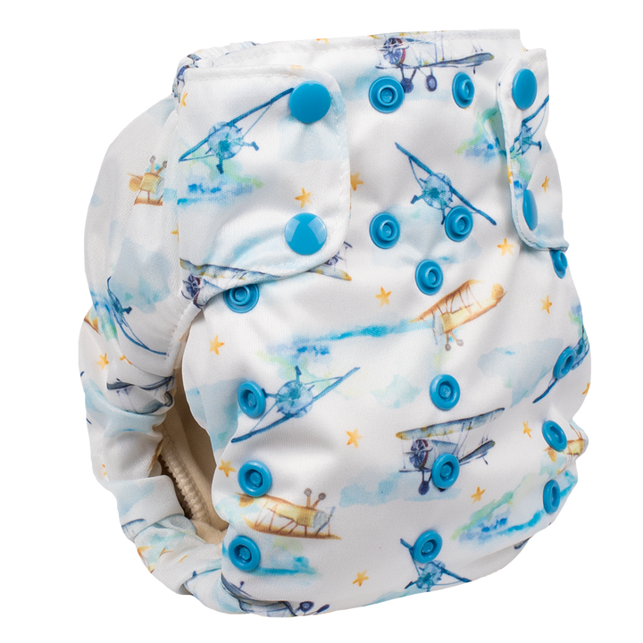 Smart Bottoms - Smart One 3.1 cloth diaper - all natural cloth diaper - First Flight print - Vintage airplanes cloth diaper print