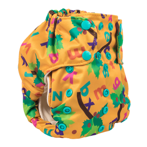Smart Bottoms - Smart One 3.1 cloth diaper - Chicka Chicka Boom Boom - yellow cloth diaper with alphabet letters