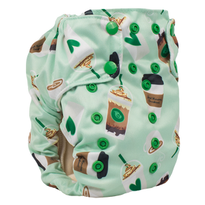 Smart Bottoms - Smart One 3.1 cloth diaper - Daily Grind - Green coffee print cloth diaper