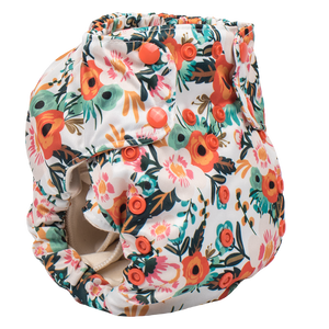 Smart Bottoms - Smart One 3.1 cloth diaper - all natural cloth diaper - Ginny print - Orange poppy floral cloth diaper print