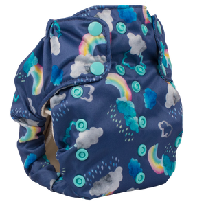 Smart Bottoms - Smart One 3.1 cloth diaper - all natural cloth diaper - Over the Rainbow print - cute clouds and rainbows cloth diaper print