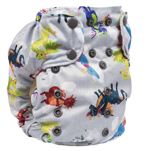 Smart Bottoms - Smart One 3.1 cloth diaper - all natural cloth diaper - Dragon Dreams print - cute dragons cloth diaper print