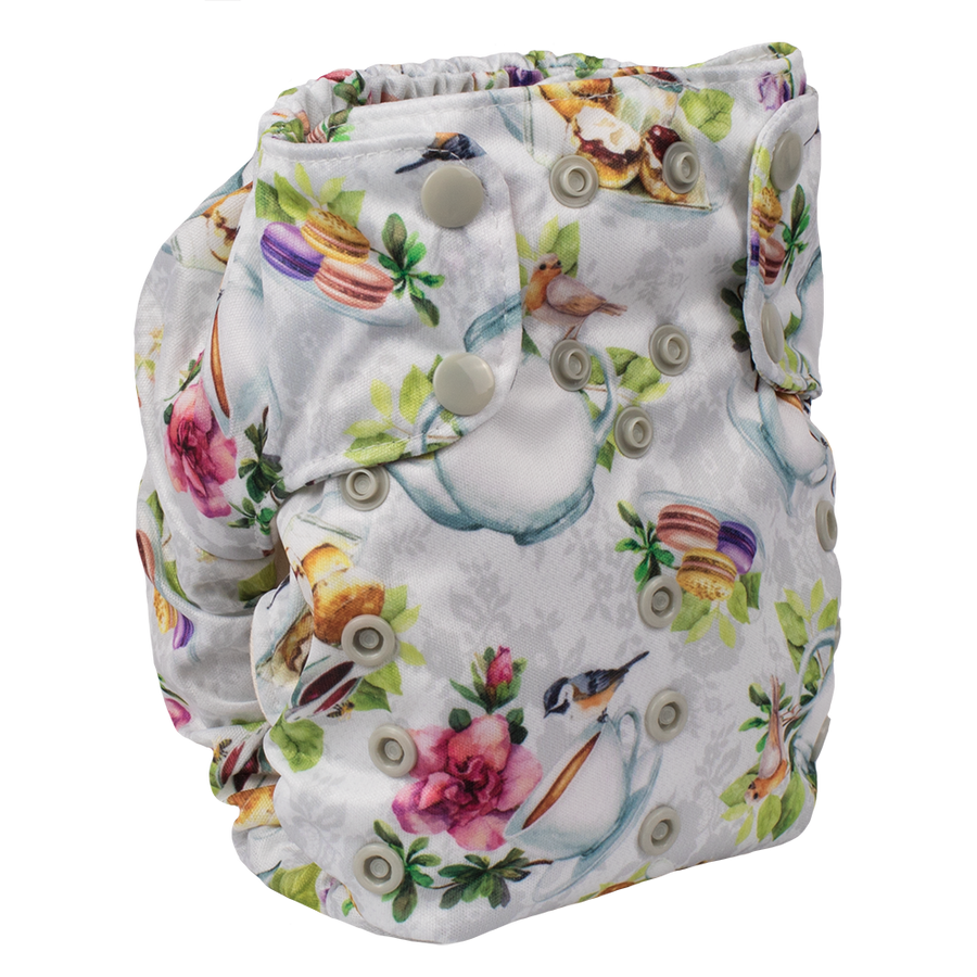 Smart Bottoms - Smart One 3.1 cloth diaper - all natural cloth diaper - Tea Party  print - English tea time cloth diaper print