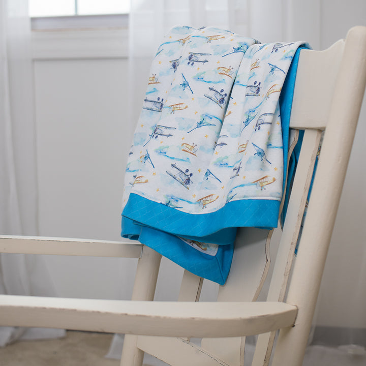 Smart Bottoms - Snuggle Blanket - First Flight Print - Adult blanket - Children's blanket  - Vintage airplane blue and white blanket