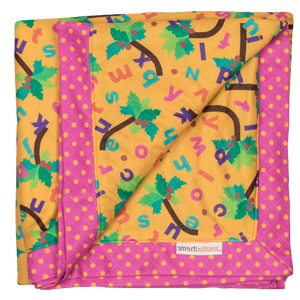 Smart Bottoms - Snuggle Blanket - Chicka Chicka Boom Boom - yellow blanket with alphabet letters
