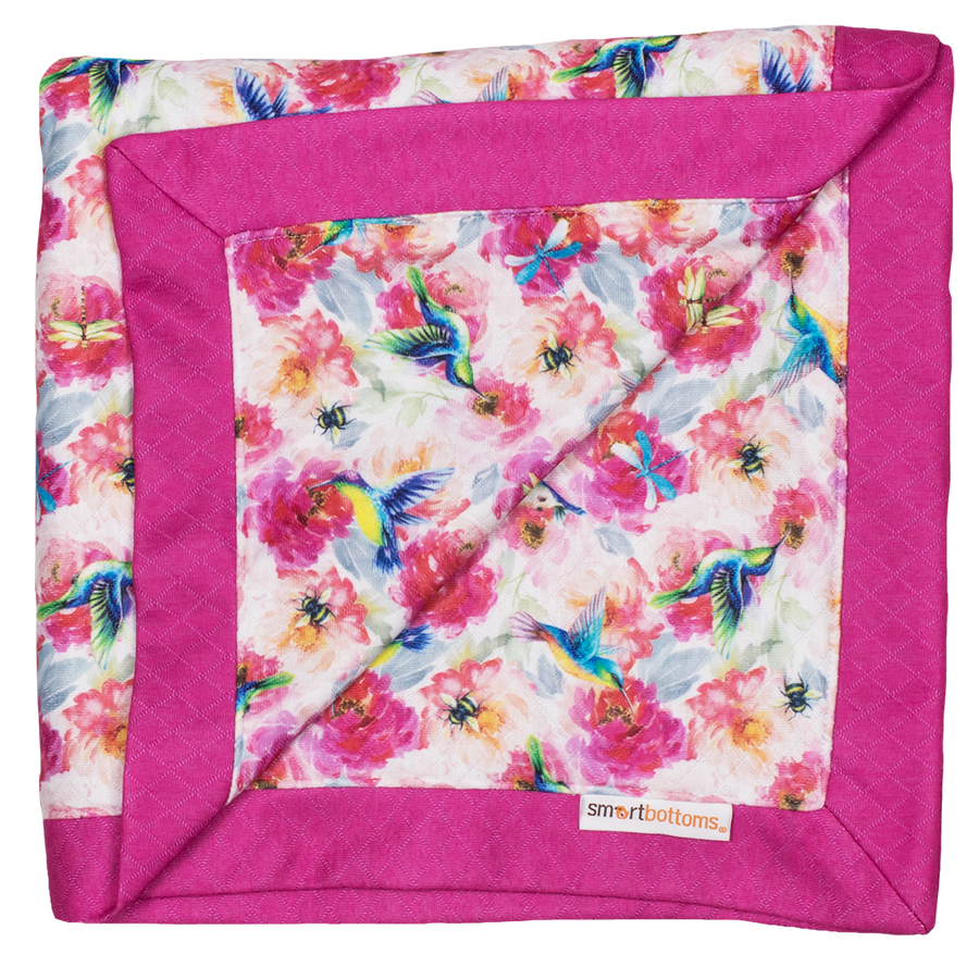 Smart Bottoms - Snuggle blanket - Shimmer hummingbird and pink floral blanket