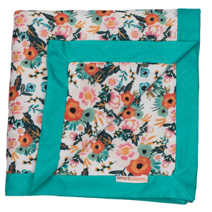 Smart Bottoms - Snuggle Blanket - Ginny poppy floral Print - orange poppies print blanket - two person blanket