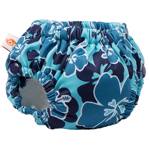 Lil' Swimmer 2.0 - Blue Hibiscus - smart bottoms - Swim diaper - blue floral print