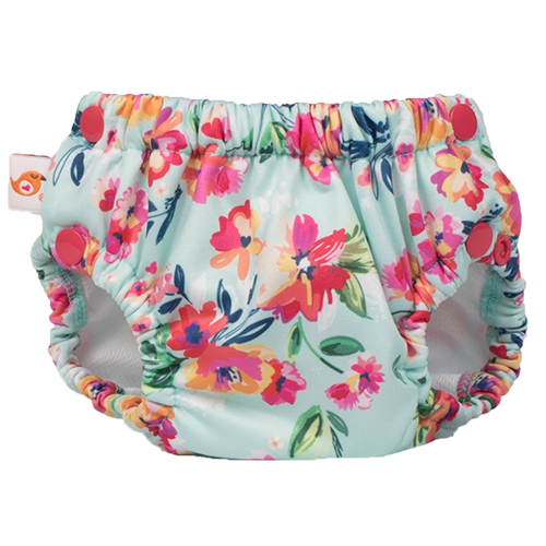 Lil' Swimmer 2.0 - Aqua Floral - smart bottoms - Swim Diaper