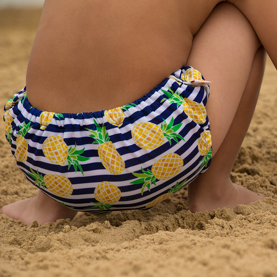 smart bottoms - swim diaper - Pina Colada - Pineapples with blue and white stripes print swim diaper - reusable swim diaper