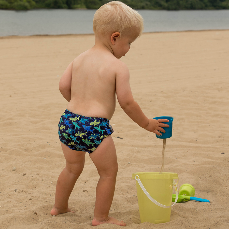 smart bottoms - swim diaper - Swim Faster - Tropical blue and yellow sharks print swim diaper - reusable swim diaper
