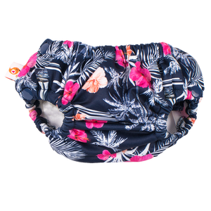 smart bottoms - swim diaper - Paradise - Tropical blue and pink flowers print swim diaper - reusable swim diaper