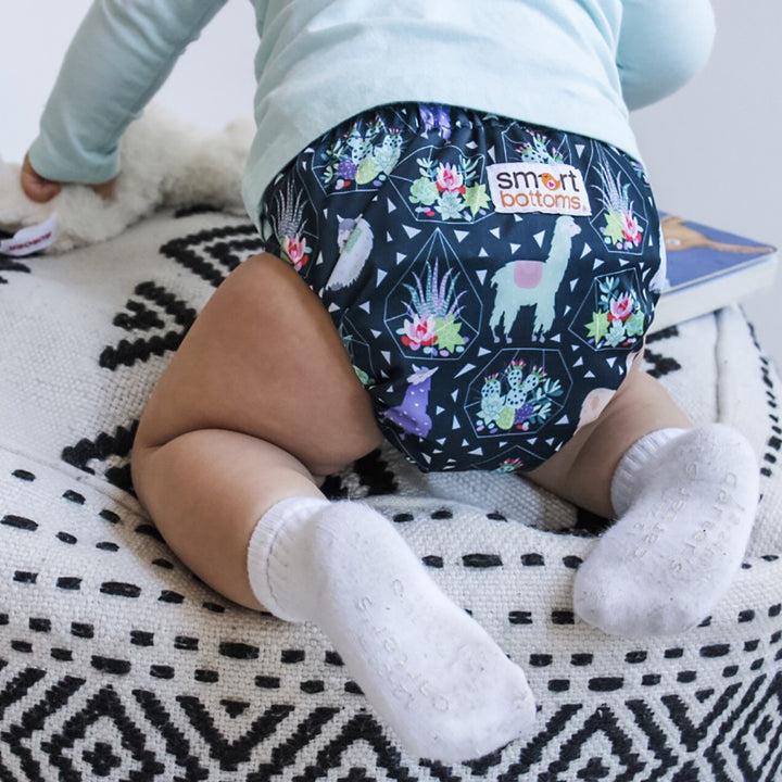 Smart Bottoms - Smart One 3.1 cloth diaper - Llama and succulent print cloth diaper -