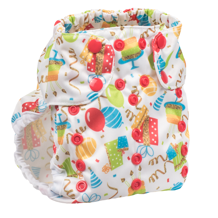 Smart Bottoms - Too Smart 2.0 cloth diaper cover - Birthday Party - Balloons and streamers party print cloth diaper cover