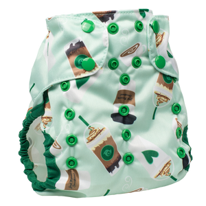 Smart Bottoms Cloth Diapers - Too Smart Diaper Cover - Daily Grind - Coffee diaper cover print