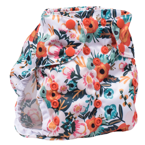 Smart Bottoms Cloth Diapers - Too Smart Diaper Cover - Ginny - Orange floral diaper cover print