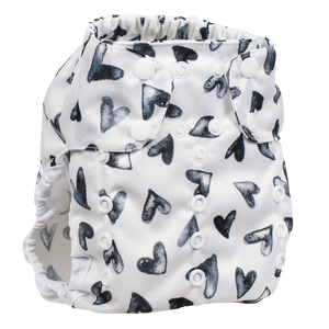 Smart Bottoms - Too Smart cloth diaper cover - all natural cloth diaper - Nurture print - black and white hearts cloth diaper cover print