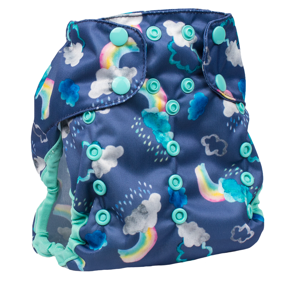Smart Bottoms Cloth Diapers - Too Smart Diaper Cover - Over the Rainbow - Rainbows and clouds diaper cover print