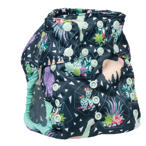 Smart Bottoms - Too Smart cloth diaper cover - all natural cloth diaper - Tina print - llama and succulents cloth diaper cover print