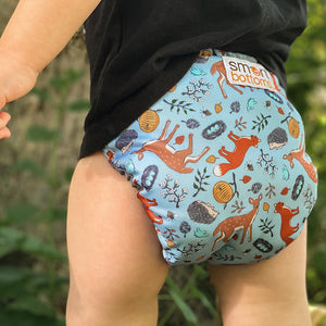 Smart Bottoms - Too Smart cloth diaper cover - all natural cloth diaper - Forest Friends print - blue with forest animals cloth diaper cover print