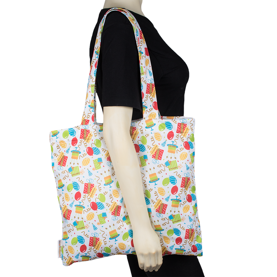 Smart Bottoms - Tote Bag - Multipurpose reusable bag - reusable grocery bag - Birthday Party print  - Balloons and streamers party print bag