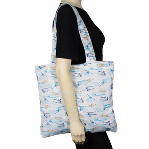 Smart Bottoms - Tote Bag - Multipurpose reusable bag - reusable grocery bag - First Flight Print - Vintage airplane print reusable tote bag