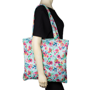 Smart Bottoms - Tote Bag - Multipurpose reusable bag - reusable grocery bag - Aqua Floral - floral print reusable tote bag