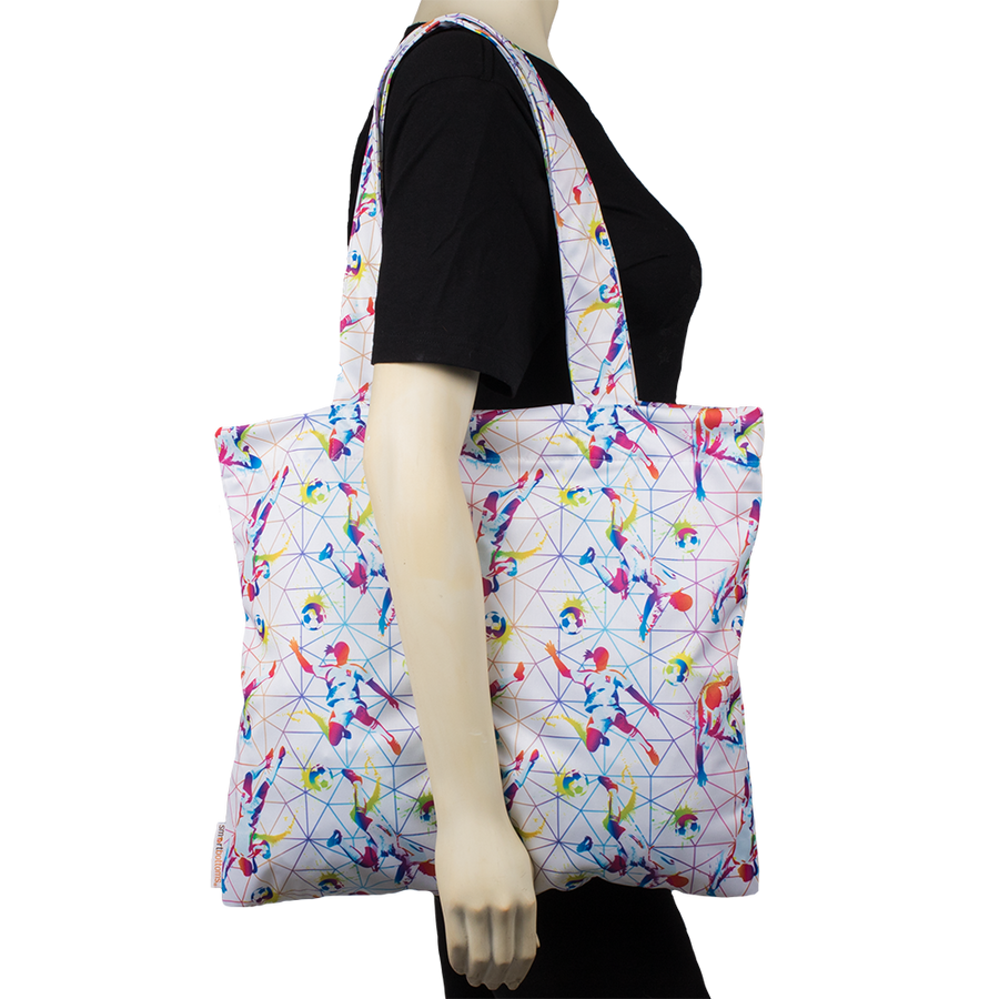 Smart Bottoms - Tote Bag - Multipurpose reusable bag - reusable grocery bag - Bend It Print - Soccer theme print reusable tote bag