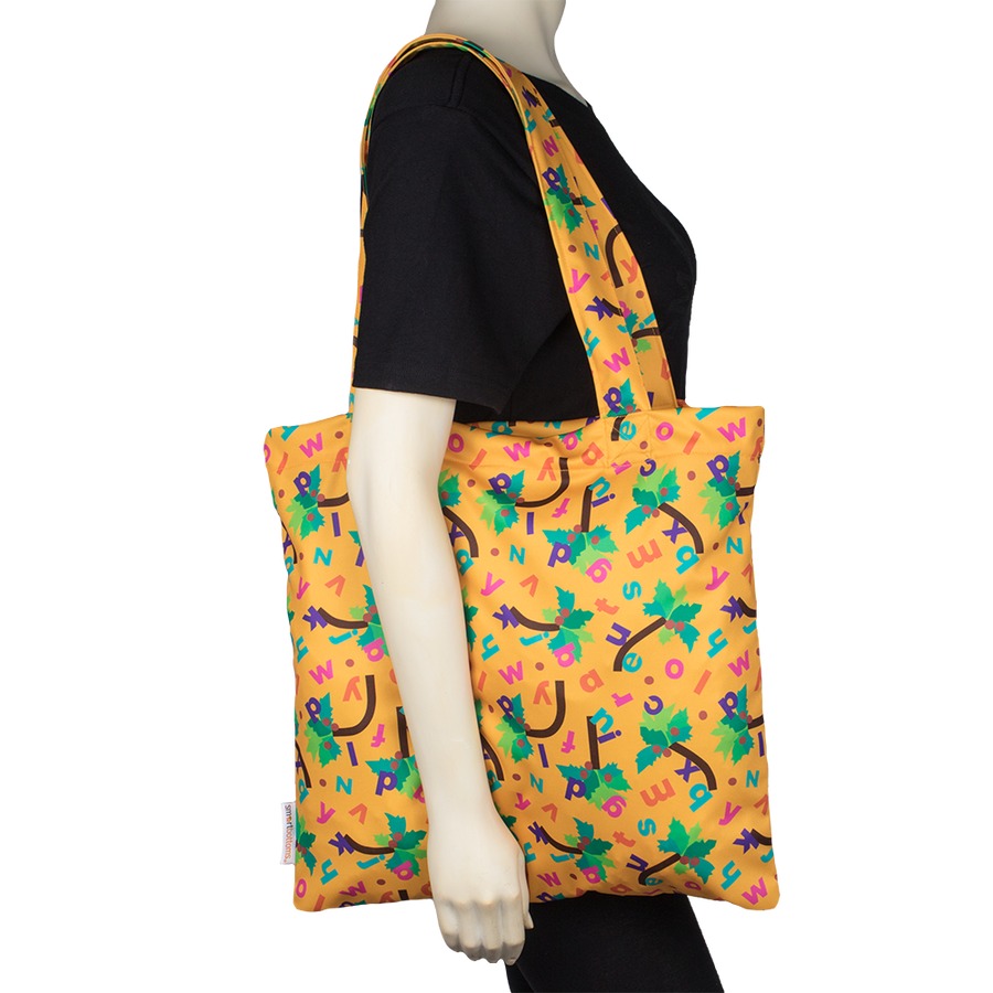 Smart Bottoms - Tote Bag - Chicka Chicka Boom Boom - Yellow reusable bag with alphabet letters