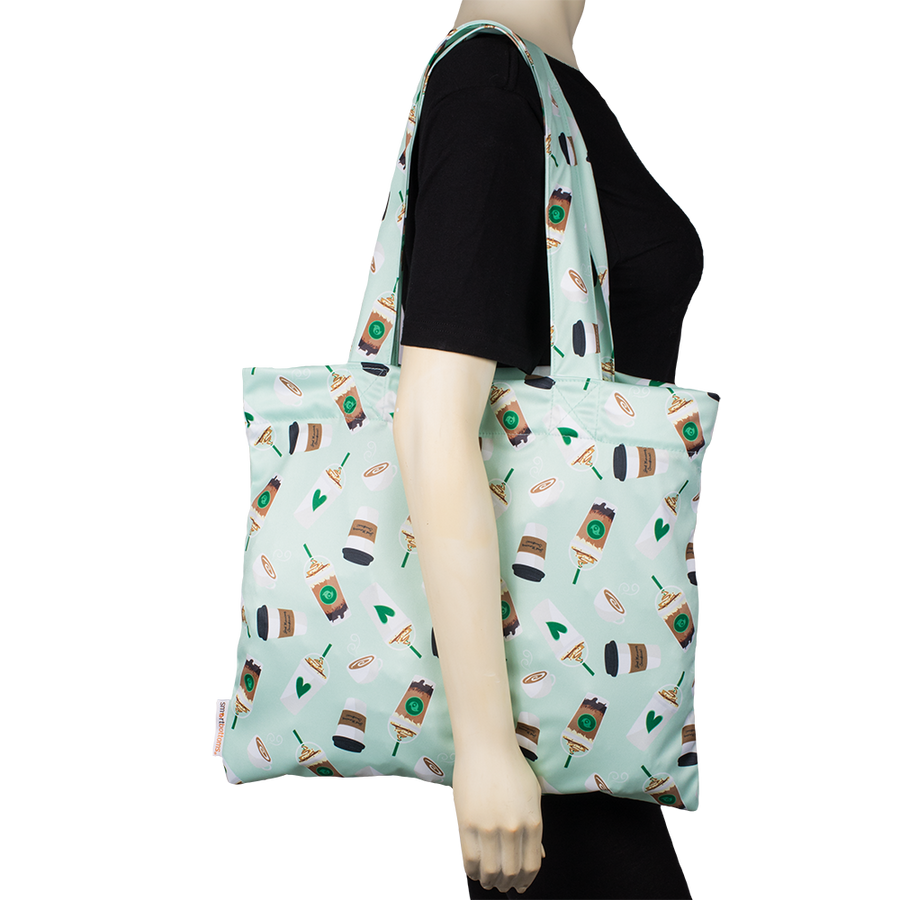 Smart Bottoms - Tote Bag - multipurpose reusable bag - Daily Grind - green coffee print tote bag