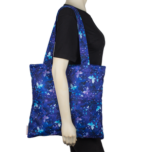 Smart Bottoms - Tote Bag - Little Wings - blue butterflies print reusable tote bag