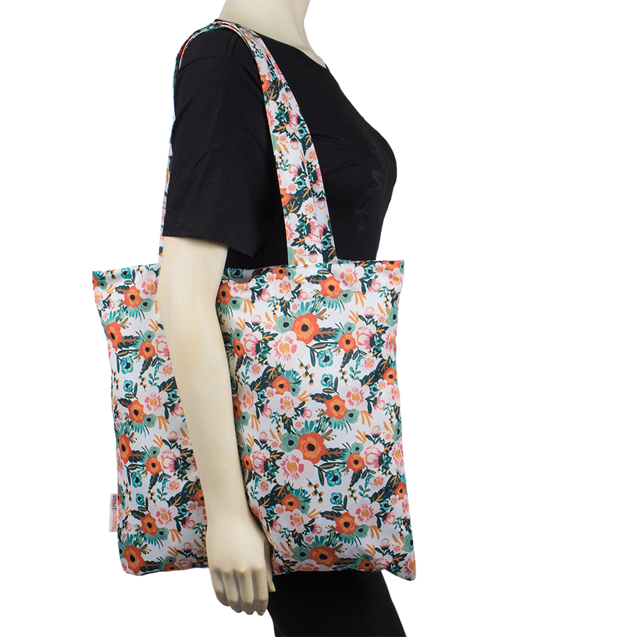 Smart Bottoms - Tote Bag - Multipurpose reusable bag - reusable grocery bag - Ginny Print - Orange poppy floral print reusable tote bag