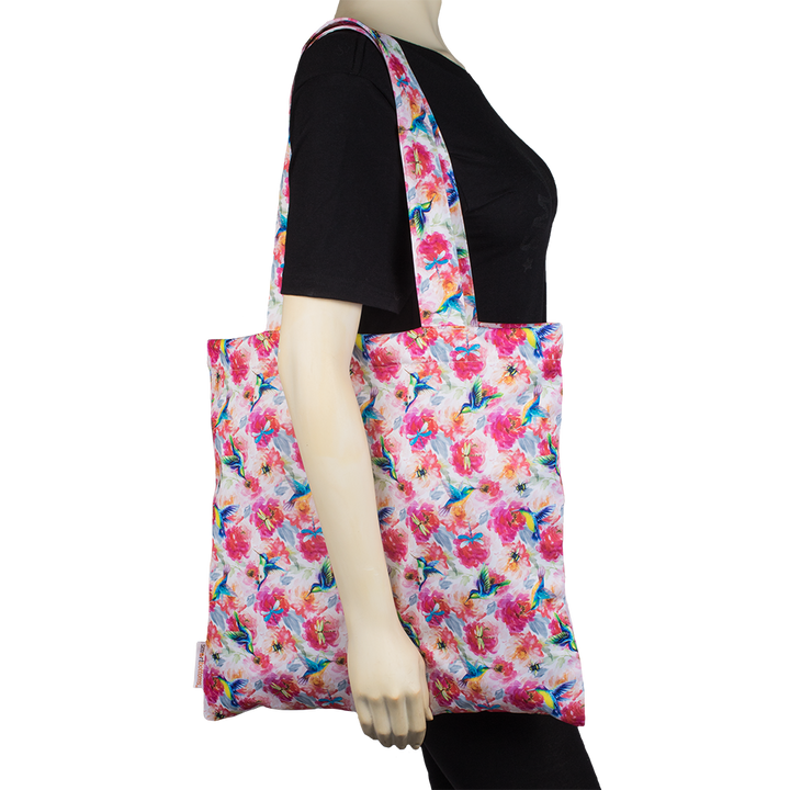 Smart Bottoms - Reusable tote bag - Shimmer hummingbird and pink florals tote bag
