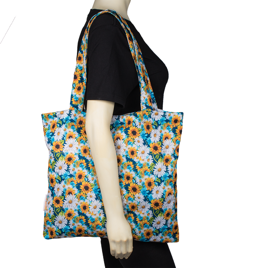 Smart Bottoms - Tote Bag - Multipurpose reusable bag - reusable grocery bag - Hello Sunshine Print - Sunflower print reusable tote bag