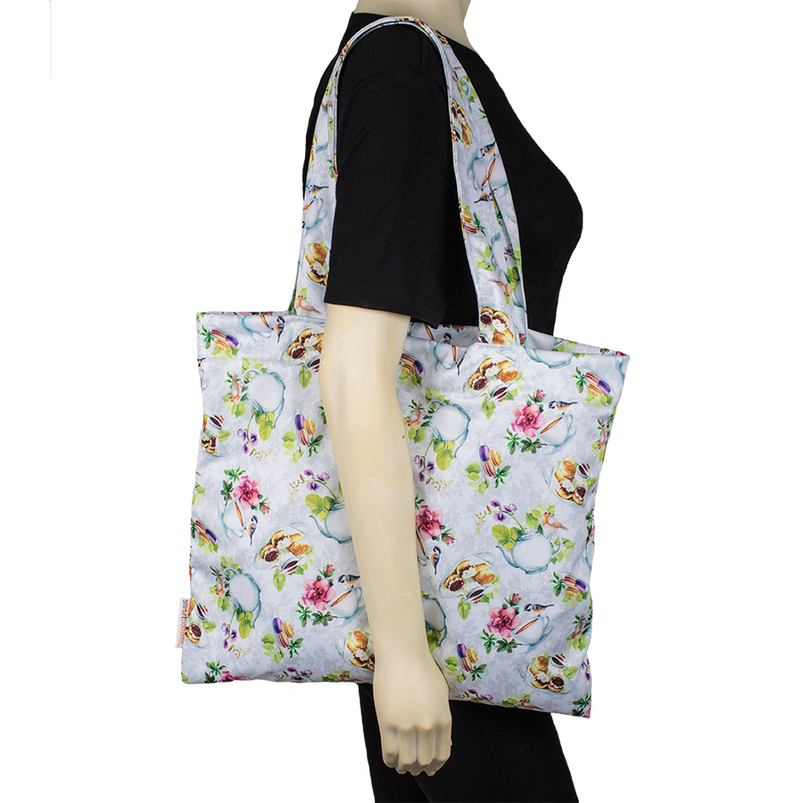 Smart Bottoms - Tote Bag - Multipurpose reusable bag - reusable grocery bag - Tea Party Print - English tea time print reusable tote bag