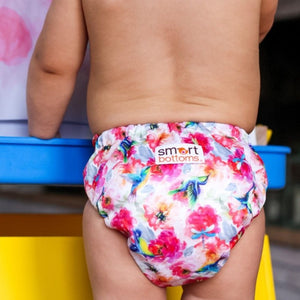Smart Bottoms - Smart One cloth diaper - shimmer hummingbird and pink floral cloth diaper